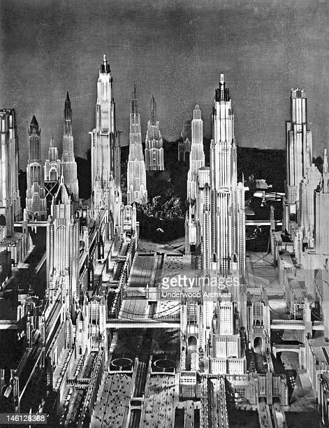 View of a futuristic city in 1980 in a still from the sci-fi fantasy film, 'Just Imagine,' directed by David Butler, New York, New York, 1930.