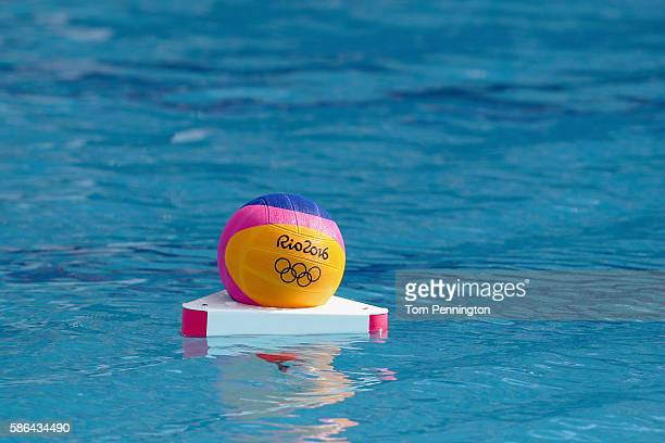 View of a game ball during the Men's Water Polo Preliminary Round - Group A match between the Greece and Japan at the Maria Lenk Aquatics Centre on...
