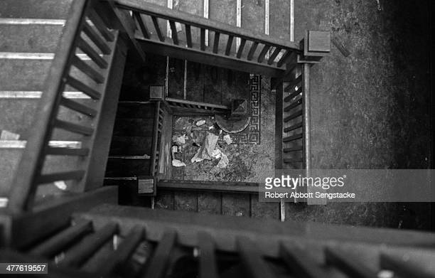 View of a garbage strewn stairwell in an apartment building in the Englewood neighborhood Chicago Illinois 1968