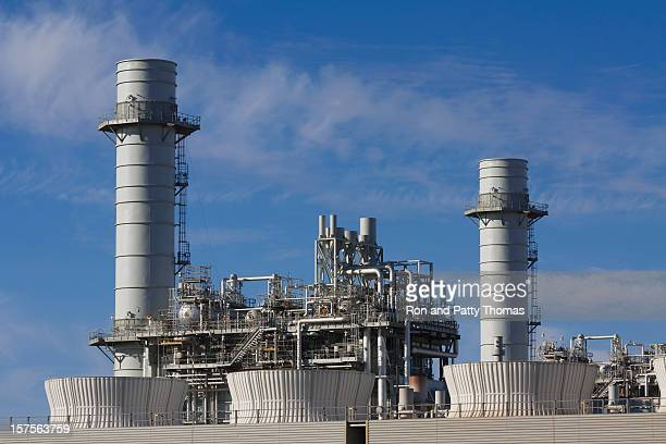 A view of a gas fired turbine power plant