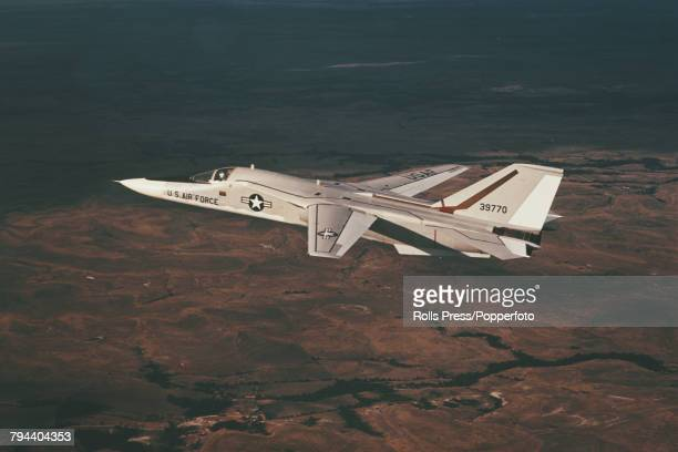View of a General Dynamics F111A Aardvark supersonic attack aircraft of the United States Air Force pictured in flight circa 1970