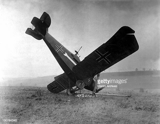 View of a German Hannover CL.IIIa airplane brought down in the Argonne by American machine gunners, between Montfaucon and Cierges, France, showing a...