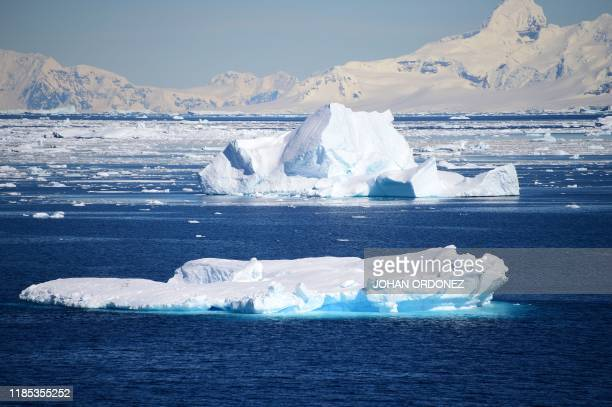 View of a glacier at Chiriguano Bay in South Shetland Islands, Antarctica on November 07, 2019.