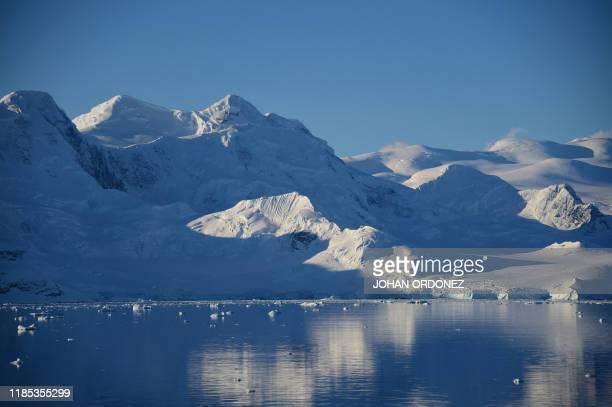 View of a glacier at Chiriguano Bay in South Shetland Islands Antarctica on November 07 2019