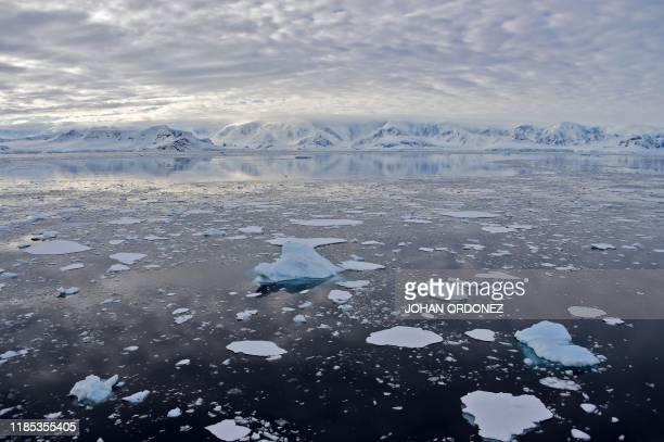 View of a glacier at Chiriguano Bay in South Shetland Islands, Antarctica on November 07, 2019.