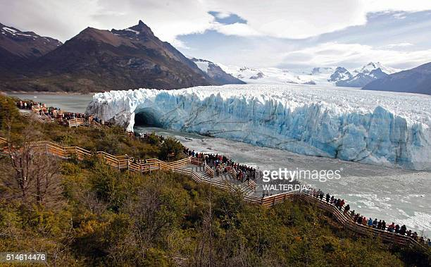 View of a glacier cave of the Perito Moreno Glacier located at Los Glaciares National Park southwest Santa Cruz Province Argentina on March 9 2016...