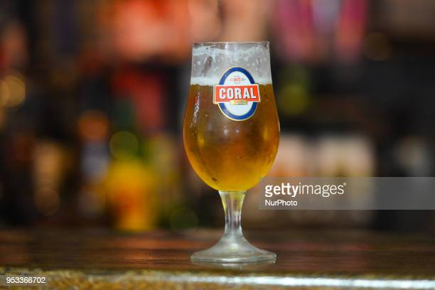 A view of a glass of Coral lager a local beer produced in the Madeira Brewery On Sunday April 22 in Funchal Madeira Island Portugal