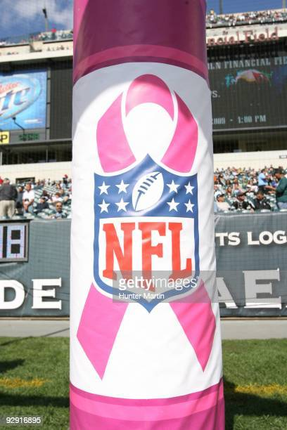 A view of a goal post pad with the Breast Cancer Awareness/NFL logo during a game between the Philadelphia Eagles and the Tampa Bay Buccaneers on...