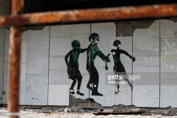 A view of a Graffiti at the Chernobyl exclusion zone in the abandoned city of Pripyat The HBO television miniseries Chernobyl premiered in US and...