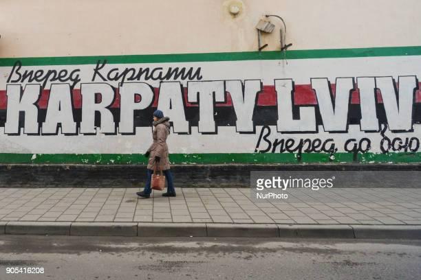 View of a graffiti related to Karpaty Lviv Football Club, a Ukrainian professional football club based in Lviv. On Monday, January 15 in Lviv, Lviv...