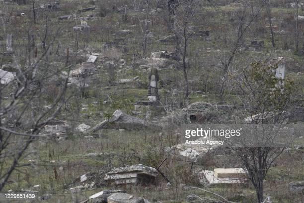 View of a graveyard damaged within the 2020 Nagorno-Karabakh conflict between Azerbaijan and Armenia on November 28, 2020 in Fuzuli city, Azerbaijan....