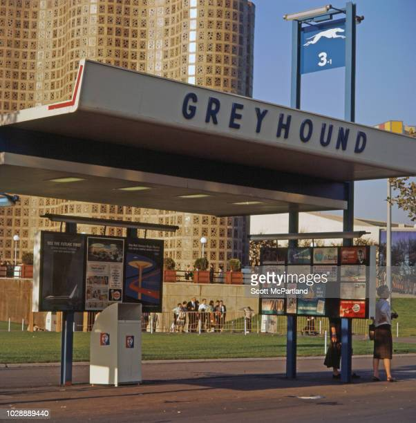 View of a Greyhound bus stop at the World's Fair in Flushing Meadows Park in Queens New York New York May 1965