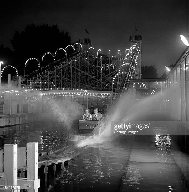 A view of a group of passengers going through the watershute at Battersea Festival Gardens London c1951c1959 The park was transformed as part of the...
