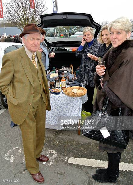View of a group of racing fans drinking wine with a picnic hamper beside a car as they attend the racing during the 2012 Cheltenham National Hunt...