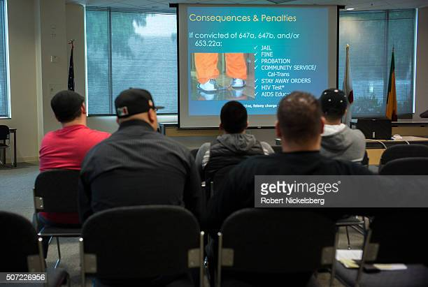 View of a group of unidentified men as they attend a Prostitution Diversion Program class Van Nuys California April 25 2015 The men all convicted for...