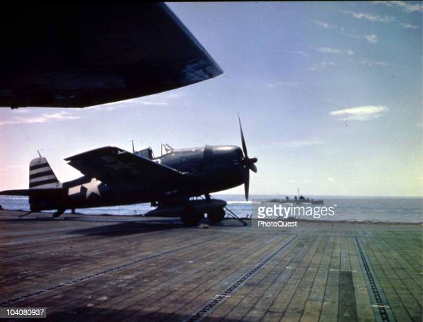 View of a Grumman F6F Hellcat parked on the flight deck of the of the USS Randolph aircraft carrier March 1945