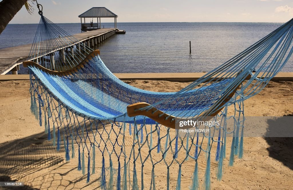 Hammock On The Beach At Ambergris Caye, Belize : News Photo