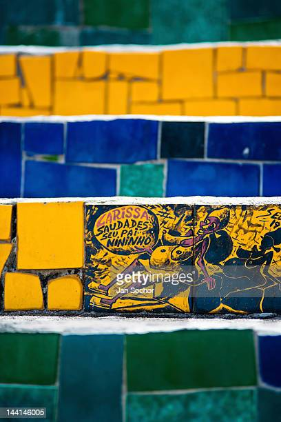 View of a hand painted tile on Selaron's Stairs a colorful mosaic tile stairway on February 12 2012 in Rio de Janeiro Brazil World famous staircase...