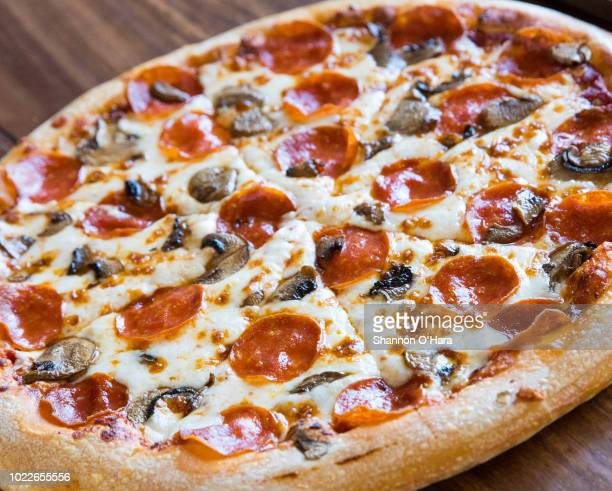 A view of a Hand tossed pepperoni and mushroom at Pizza Hut on June 29 2018 in Shreveport Louisiana