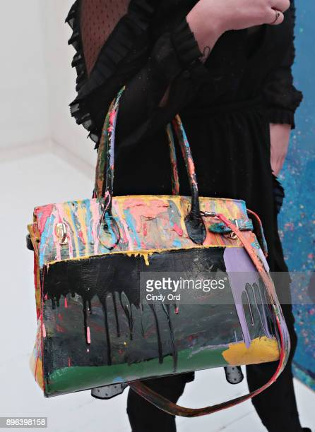 View of a handbag on display during the Reginato X DZZone NYC launch holiday party with limited edition DZZone Handbags by Peter Reginato on December...