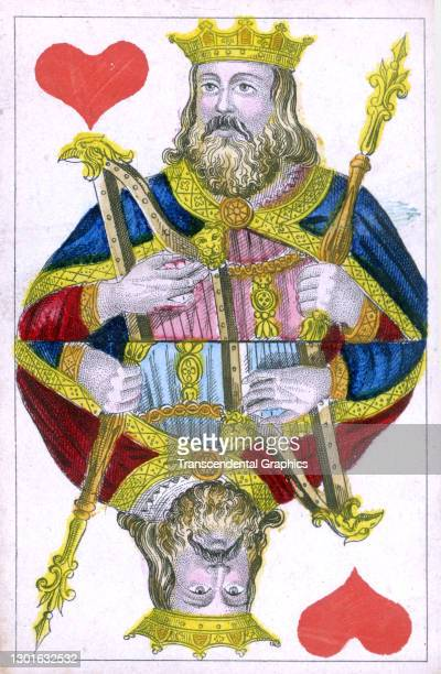 View of a hand-colored 'King of Hearts' from deck of playing cards, France, circa , 1830.