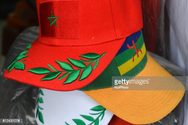 A view of a handmade baseball caps with the emblem of Morocco and the emblem of Rif region seen for sales inside Rabat's medina On Friday June 30 in...