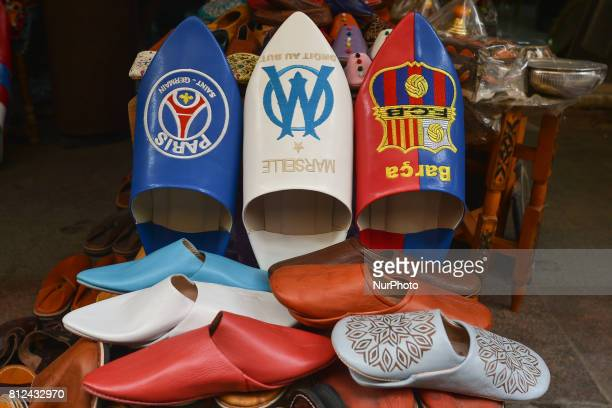 A view of a handmade Moroccan babouches slippers for men seen for sales inside Rabat's medina On Friday June 30 in Rabat Morocco