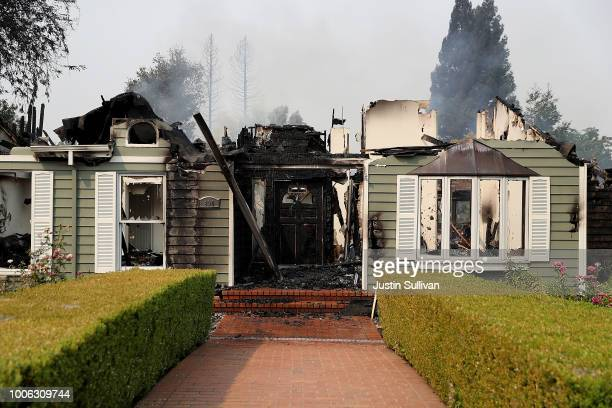 A view of a home that was destroyed by the Carr Fire on July 27 2018 in Redding California A Redding firefighter and bulldozer operator were killed...