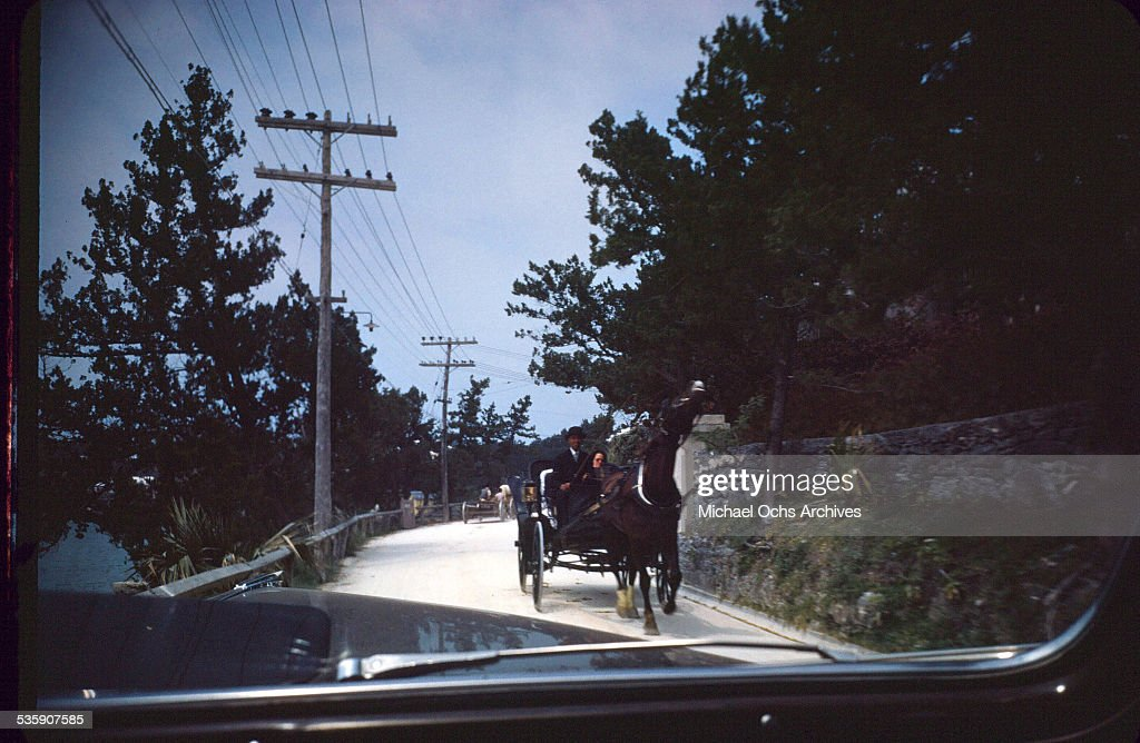 A view of a horse and buggy street scene, taken from a car in Bermuda.