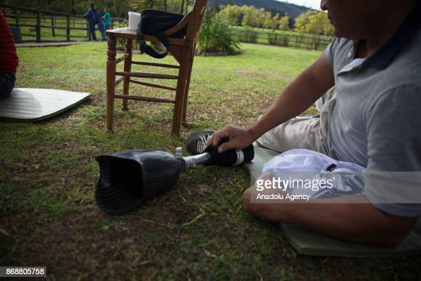 A view of a horse therapy rehabilitation area for the Colombian soldiers victims of landmines where the 'Equestrian Therapy' implemented in on...