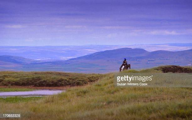 View of a horseman near Qunu Transkei South Africa 1988 During the apartheid era Transkei was one of several governmentdesignated 'homelands' It is...