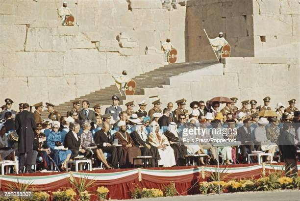 View of a host of world leaders heads of state royalty and dignitaries invited by Shah of Iran Mohammad Reza Pahlavi and assembled in an audience to...