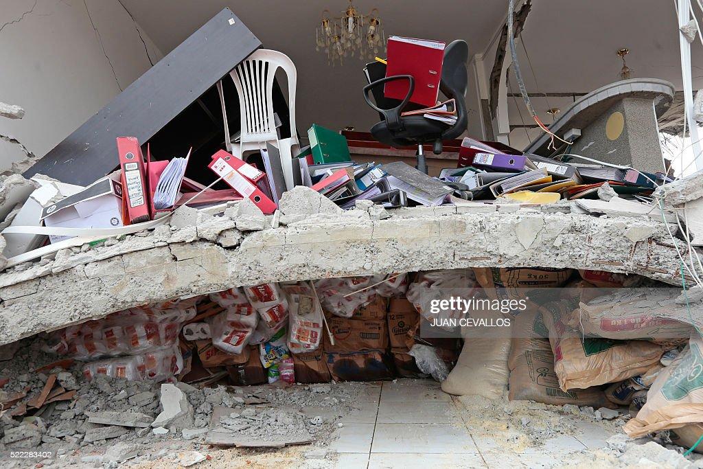 TOPSHOT-ECUADOR-QUAKE : News Photo