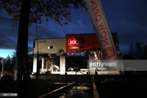 A view of a Jack in the Box restaurant that was destroyed by the Camp Fire on November 21 2018 in Paradise California Fueled by high winds and low...