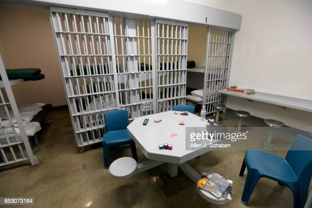 A view of a jail cell dorm where paytostay program inmates can watch television socialize and play games at the Seal Beach Detention center in Seal...