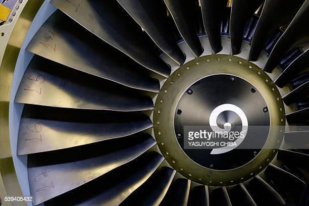 View of a jet engine at General Electric Celma GE's aviation engine overhaul facility in Petropolis Rio de Janeiro Brazil on June 8 2016 / AFP /...