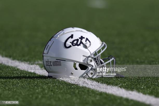 View of a Kansas State Wildcats helmet before a Big 12 football game between the West Virginia Mountaineers and Kansas State Wildcats on November 16,...