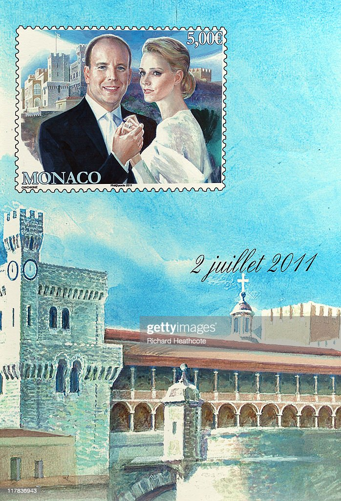 A view of a kiosk selling offical stamps for the wedding during preparations ahead of the Royal Wedding of Prince Albert II of Monaco to Charlene Wittstock on June 30, 2011 in Monaco. The civil ceremony will take place in the Throne Room of the Prince's Palace of Monaco on July 1, followed by a religious ceremony to be conducted in the main courtyard of the Palace on July 2. With her marriage to the head of state of Principality of Monaco, Charlene Wittstock will become Princess consort of Monaco and gain the title, Princess Charlene of Monaco. Celebrations including concerts and firework displays are being held across several days, attended by a guest list of global celebrities and heads of state.