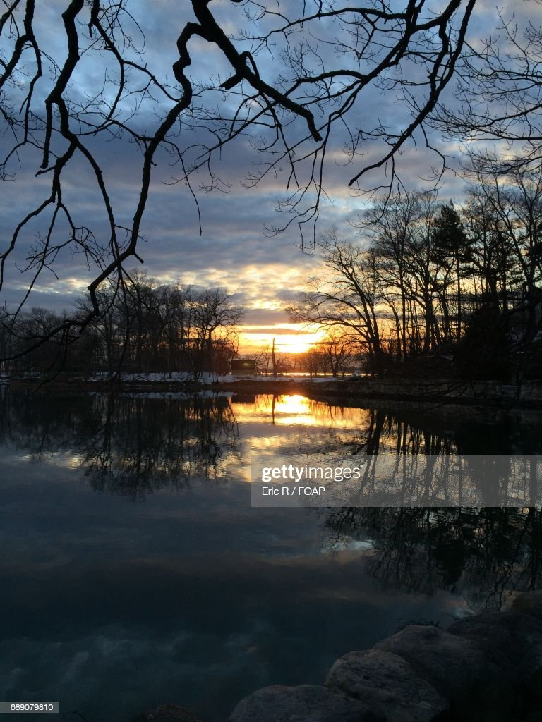 View of a lake at sunset : Stock Photo
