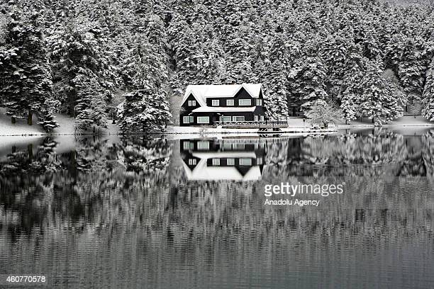 A view of a lake house near the Golcuk Natural Park in Bolu a city in Turkey during the winter season on December 22 2014