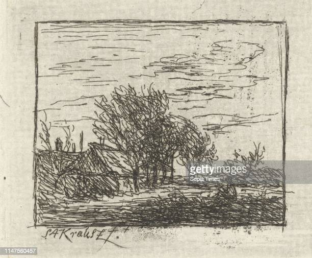 View of a landscape with few buildings left and in the center a number of tall trees print maker Simon Andreas Krausz Dating 1770 1825