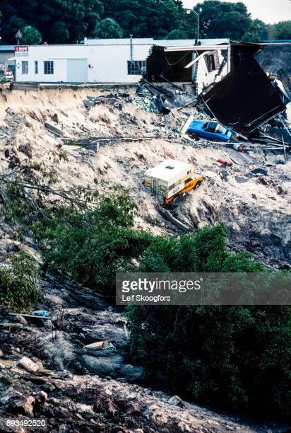 View of a large sinkhole Winter Park Florida May 10 1981 Appearing the previous day it was approximately 300 feet wide and 80 feet deep it swallowed...