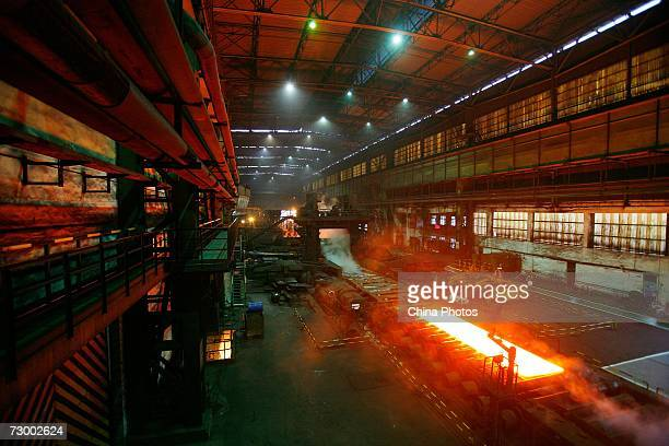 A view of a large steel making workshop at a Shanghai Baosteel Group factory January 15 2007 in Shanghai China According to state media Baosteel is...