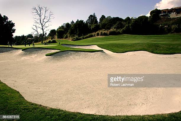 View of a larger bunker in front of the green of the number 4 hole at Riviera Country that Ben Hogan called the hardest par three in golf. This was...