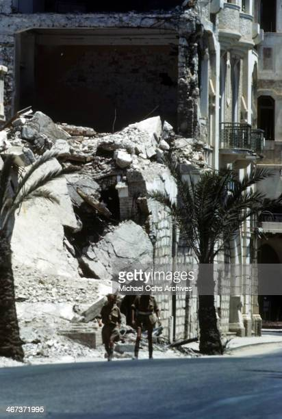 A view of a Libyanese building damaged by bombs in Benghazi Libya