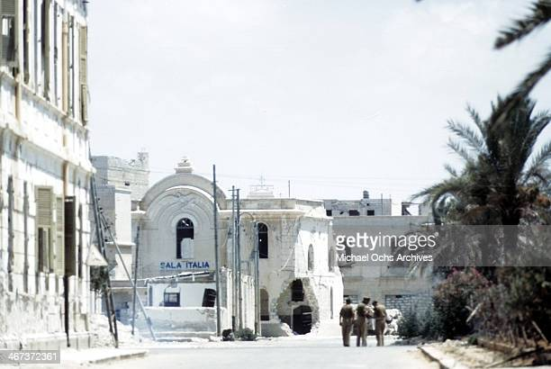A view of a Libyanese street and the Sala Italia in Benghazi Libya