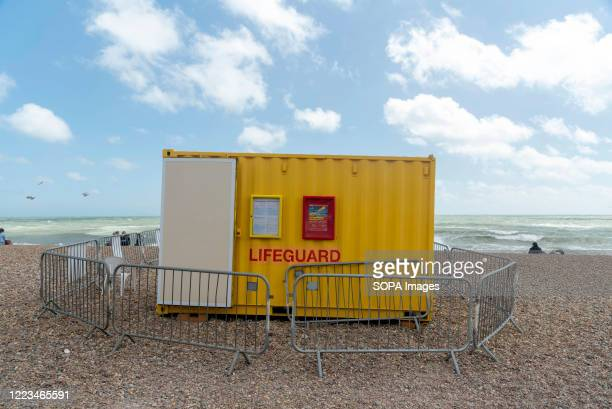 View of a lifeguard station on Brighton Beach in East Sussex
