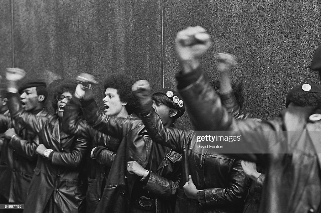 View Of A Line Of Black Panther Party Members As They Demonstrate