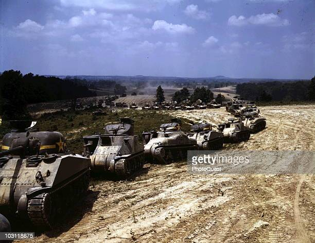 View of a line of tanks at the Armored Forces School as they practice manouvers Fort Knox Kentucky 1942