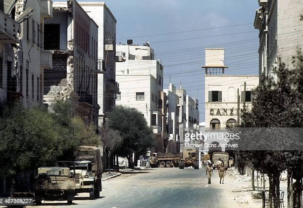 A view of a local Libyanese street blocked by military vehicles in Benghazi Libya